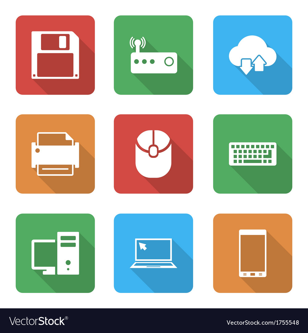 Technology icons set with with shadow vector | Price: 1 Credit (USD $1)