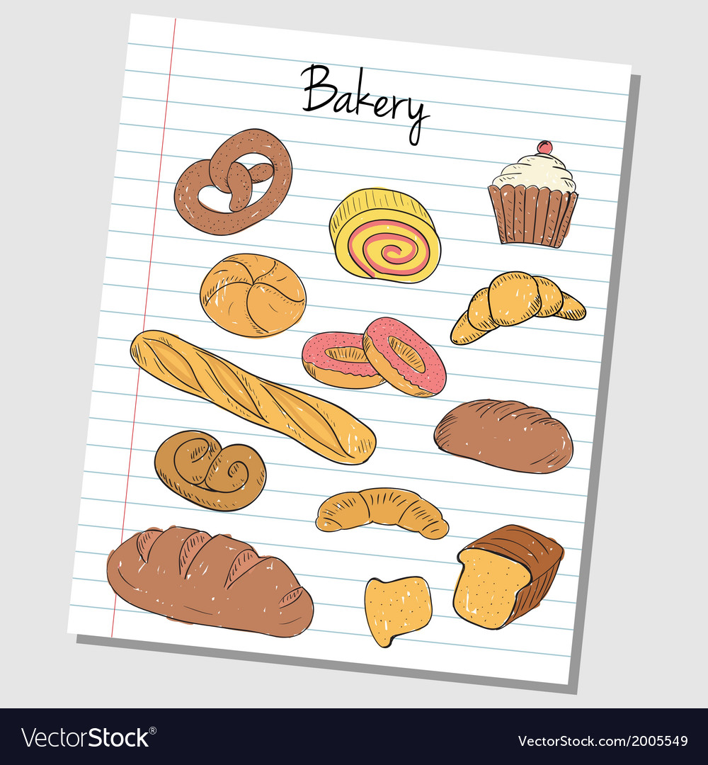 Bakery doodles lined paper colored vector | Price: 1 Credit (USD $1)