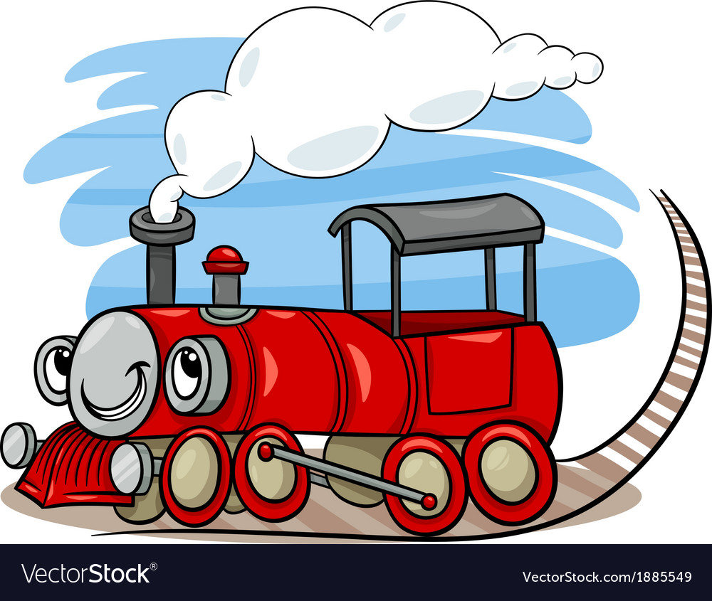 Cartoon locomotive or engine character vector | Price: 1 Credit (USD $1)