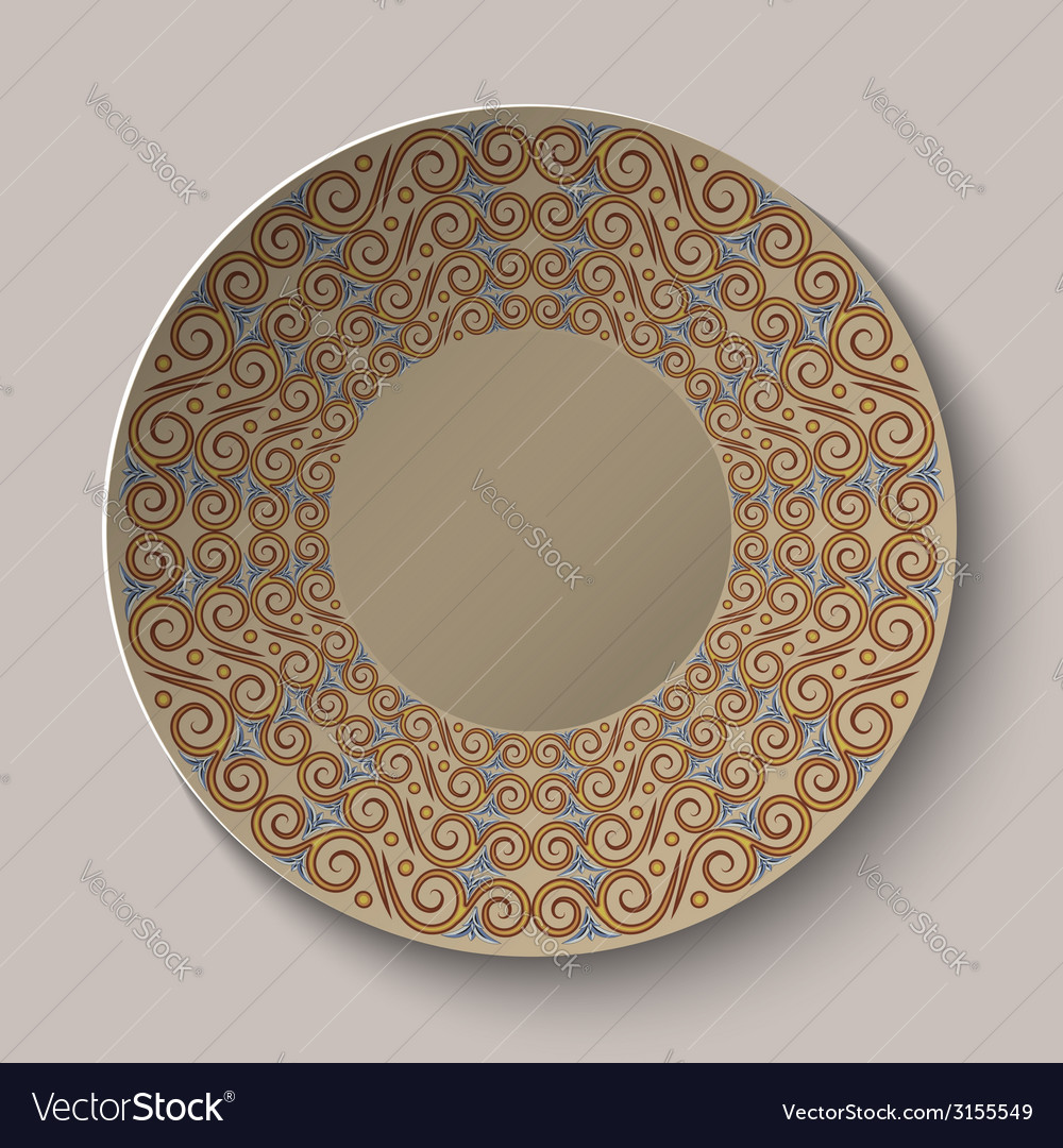 Circular pattern in the greek style on the plate vector | Price: 1 Credit (USD $1)