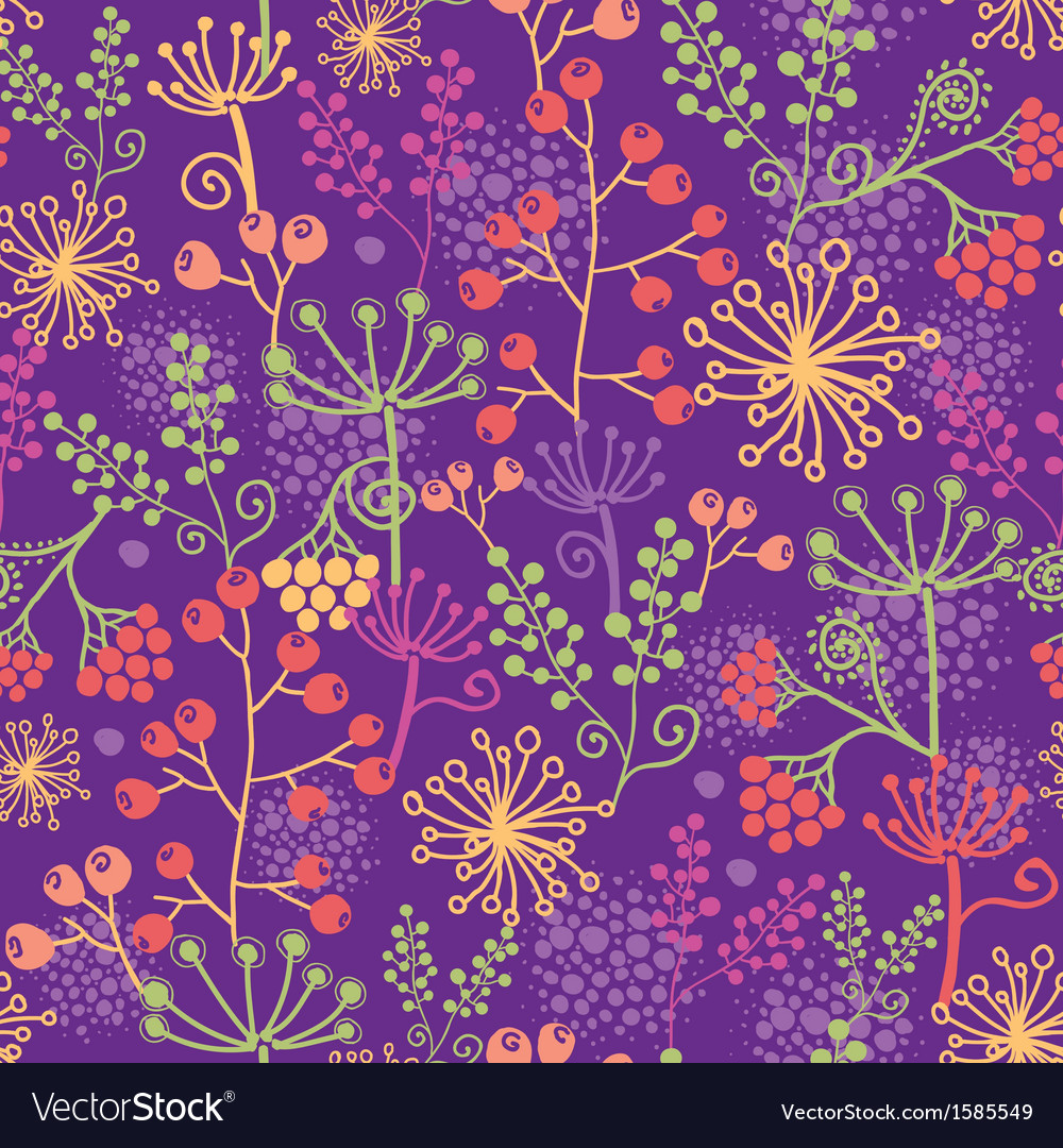 Colorful garden plants seamless pattern background vector | Price: 1 Credit (USD $1)