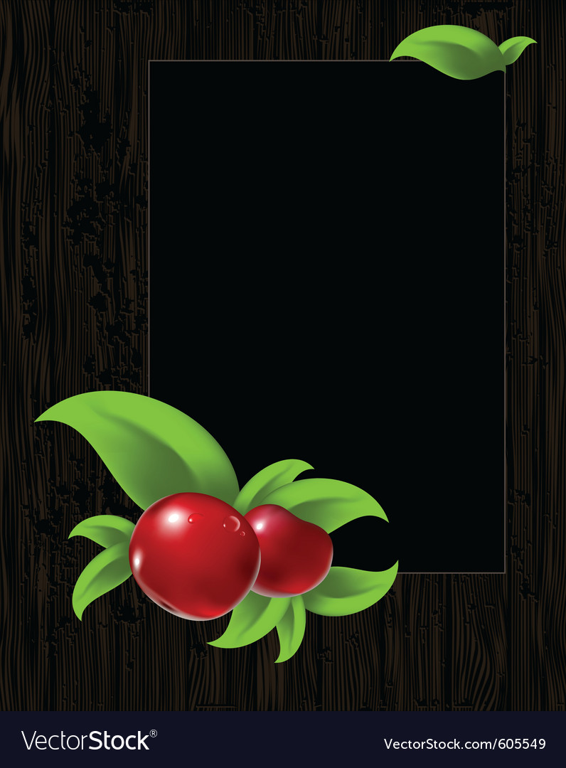 Frame with leaves and berry vector | Price: 1 Credit (USD $1)