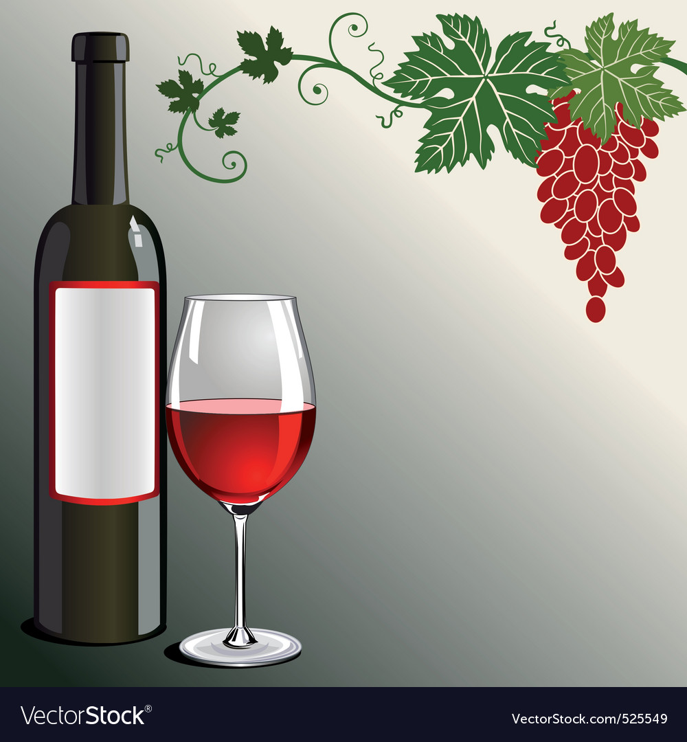 Glass of red wine with bottle vector   Price: 1 Credit (USD $1)