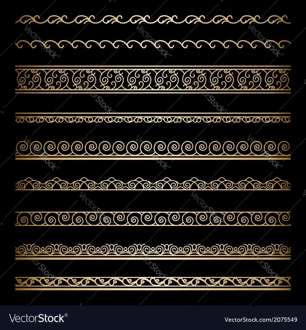 Gold border set vector | Price: 1 Credit (USD $1)