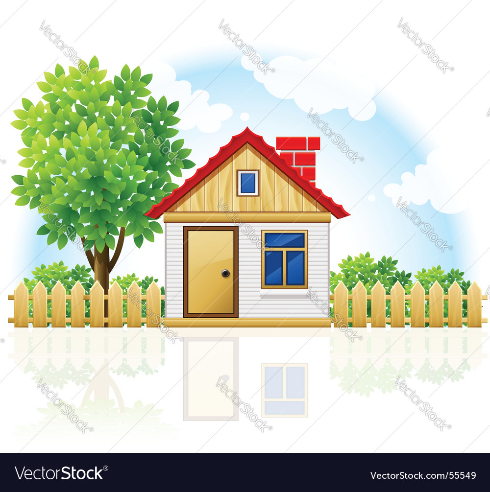 House with picket fence vector | Price: 3 Credit (USD $3)
