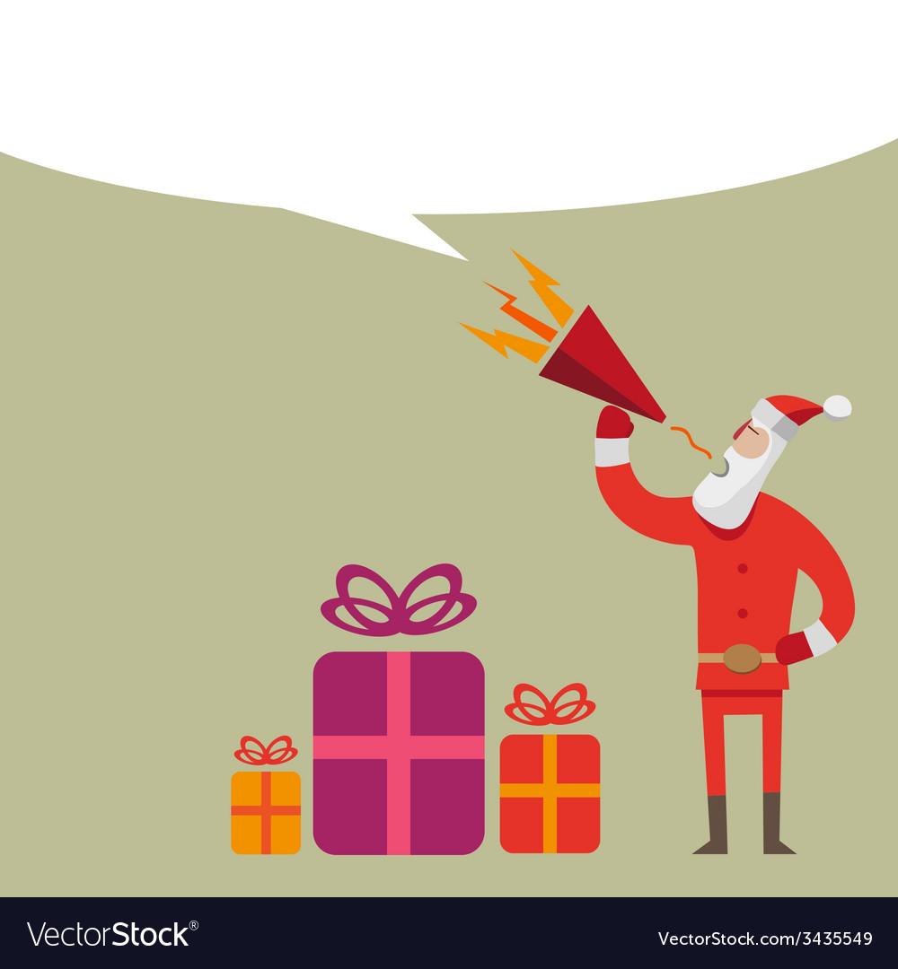Santa claus flat design with loudspeaker vector | Price: 1 Credit (USD $1)