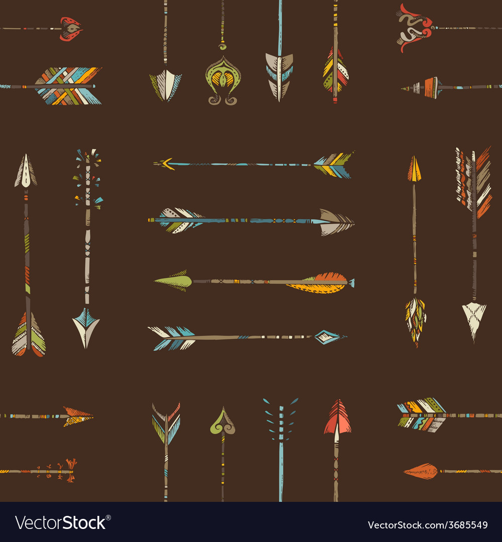 Seamless pattern of ethnic arrows vector | Price: 1 Credit (USD $1)