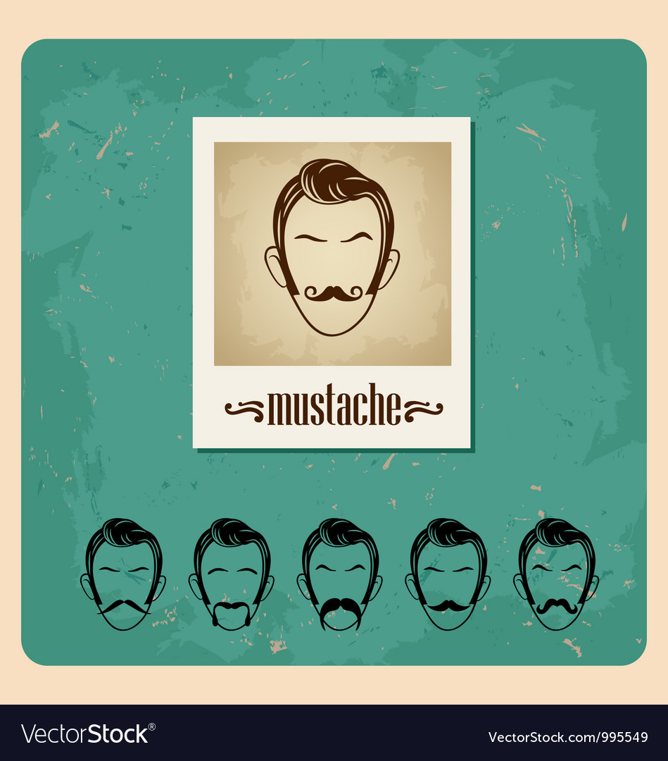 Set of faces with mustaches vector | Price: 1 Credit (USD $1)