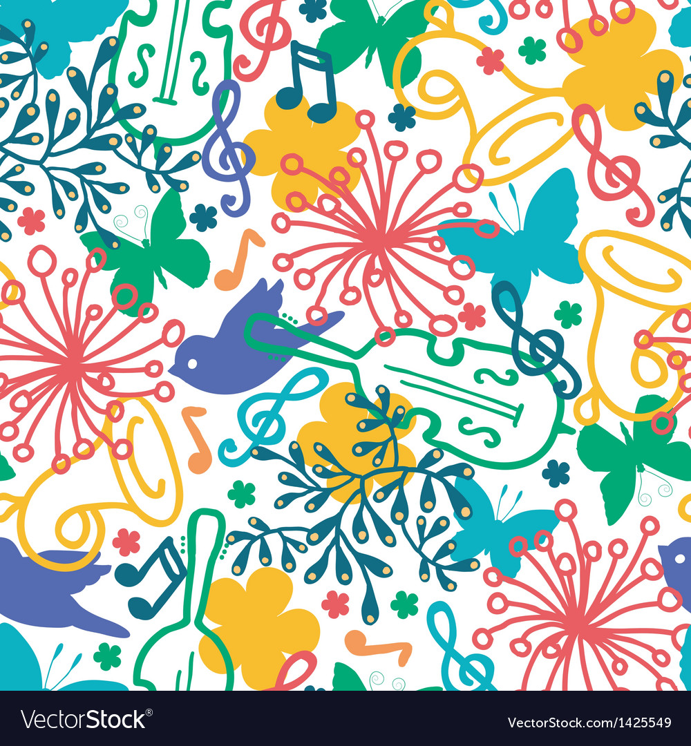 Spring music symphony seamless pattern background vector | Price: 1 Credit (USD $1)