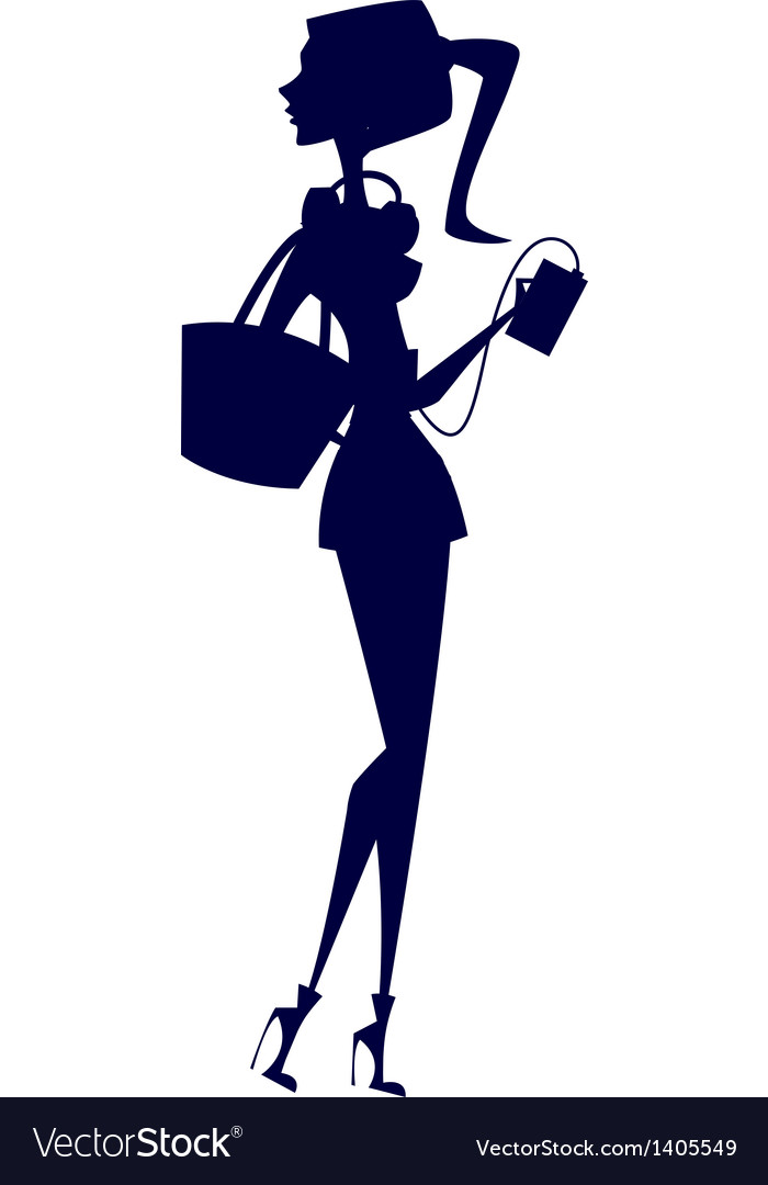 Stylish girl silhouette vector | Price: 1 Credit (USD $1)