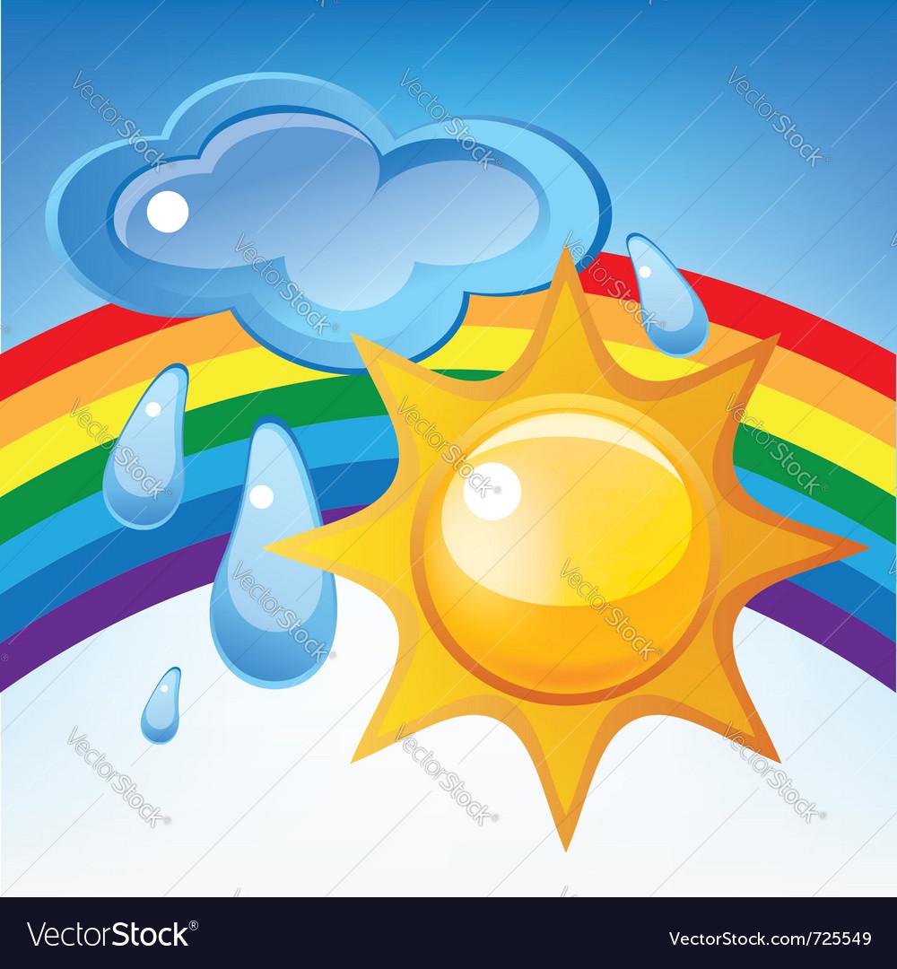 Sun cloud rain and rainbow vector   Price: 1 Credit (USD $1)