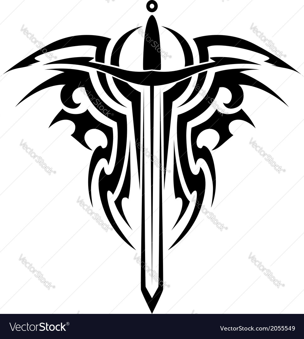 Tribal tattoo with medieval sword vector | Price: 1 Credit (USD $1)