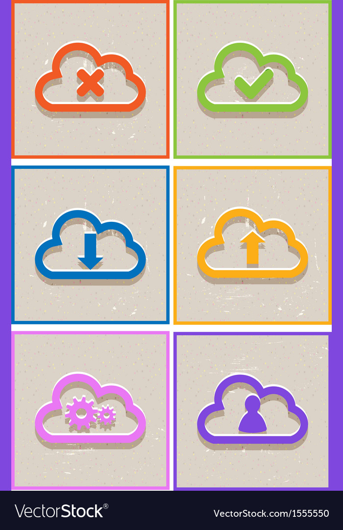 Abstract flat paper cloud icons vector | Price: 1 Credit (USD $1)
