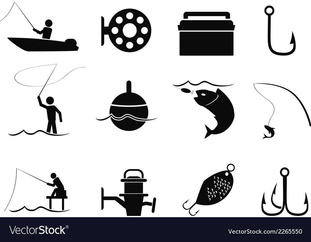 Black fishing icons set vector | Price: 1 Credit (USD $1)
