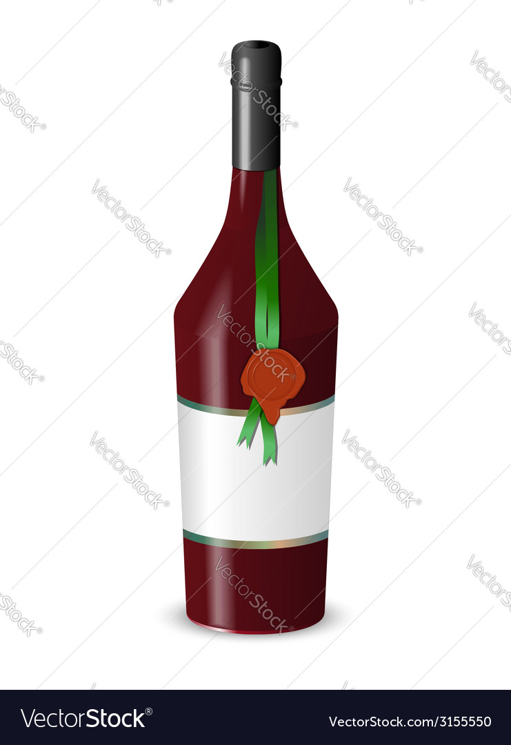 Bottle of wine with a wax seal isolated on white vector | Price: 1 Credit (USD $1)