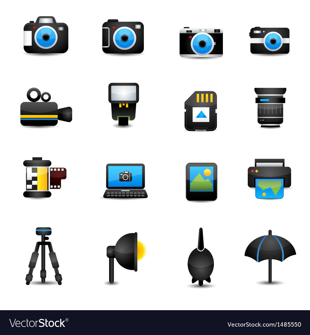Camera icons and camera accessories black vector | Price: 3 Credit (USD $3)