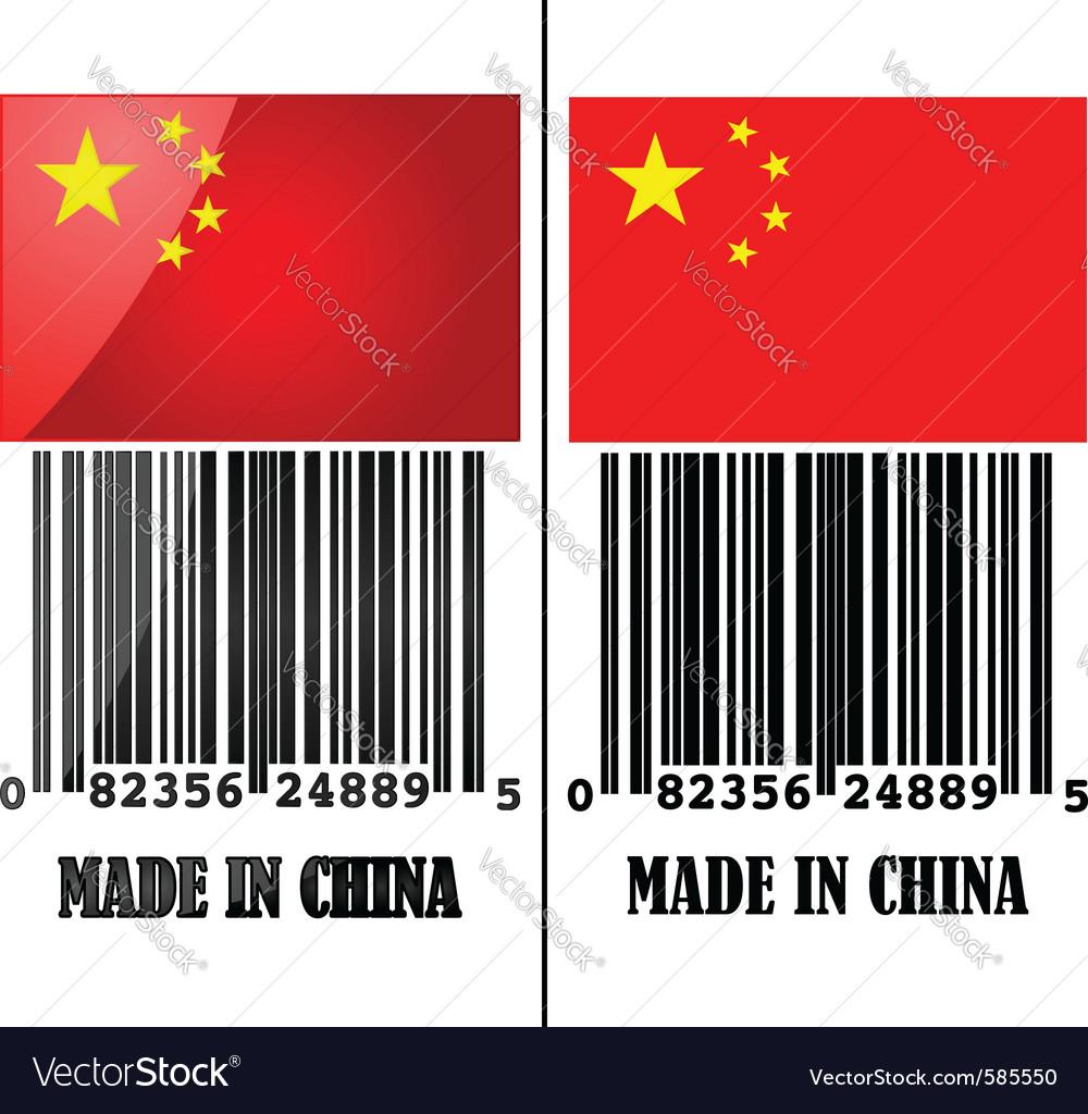 China with a bar code vector | Price: 1 Credit (USD $1)