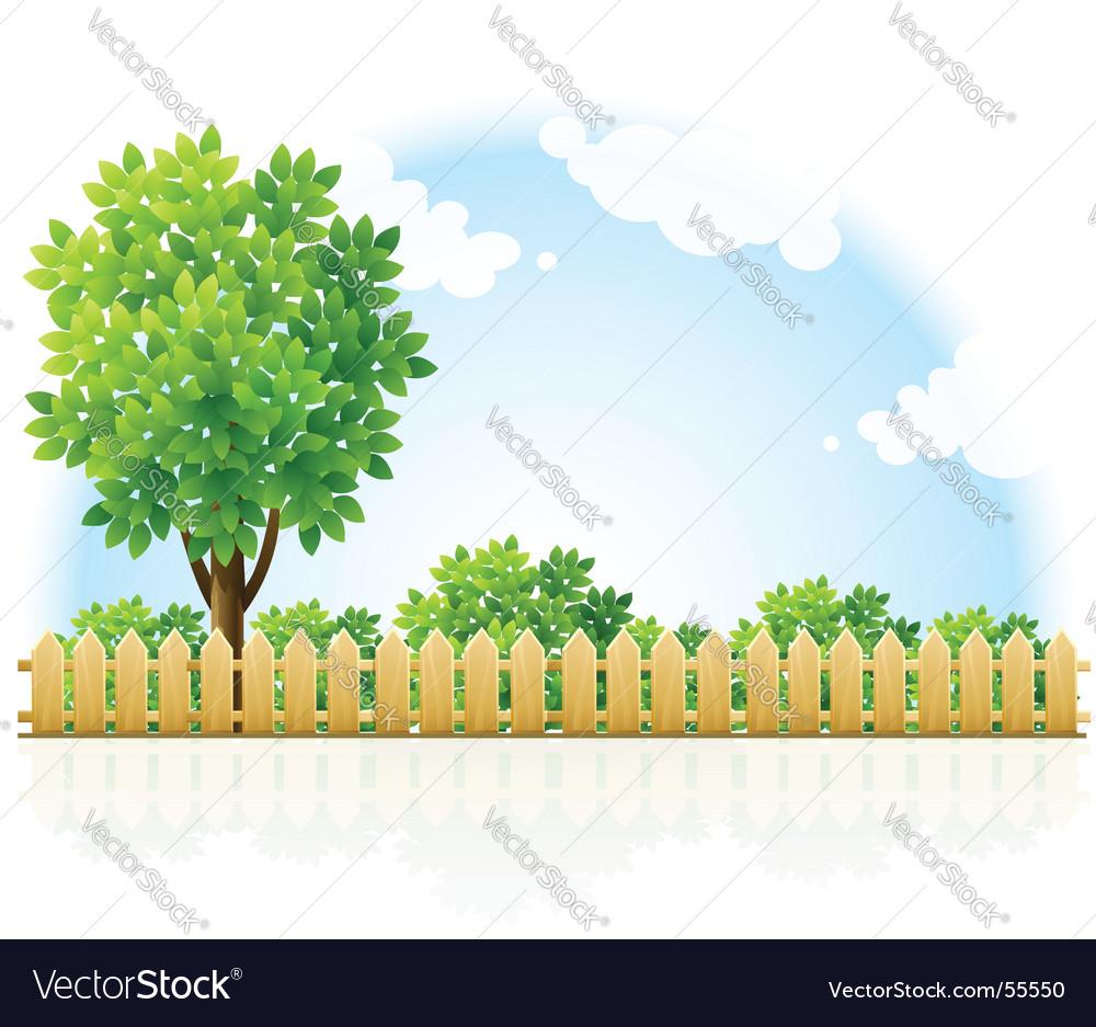 Fenced garden vector | Price: 3 Credit (USD $3)