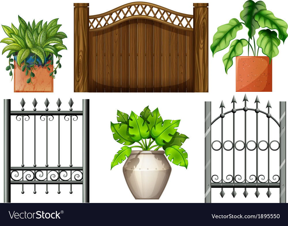 Fences and plants vector | Price: 1 Credit (USD $1)