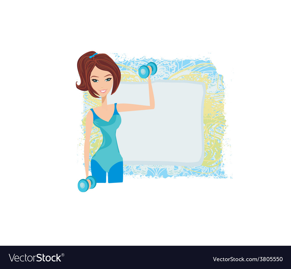 Fit brunette woman exercising with two dumbbell vector | Price: 1 Credit (USD $1)