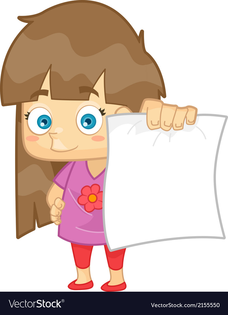 Girl showing her test paper result vector | Price: 1 Credit (USD $1)
