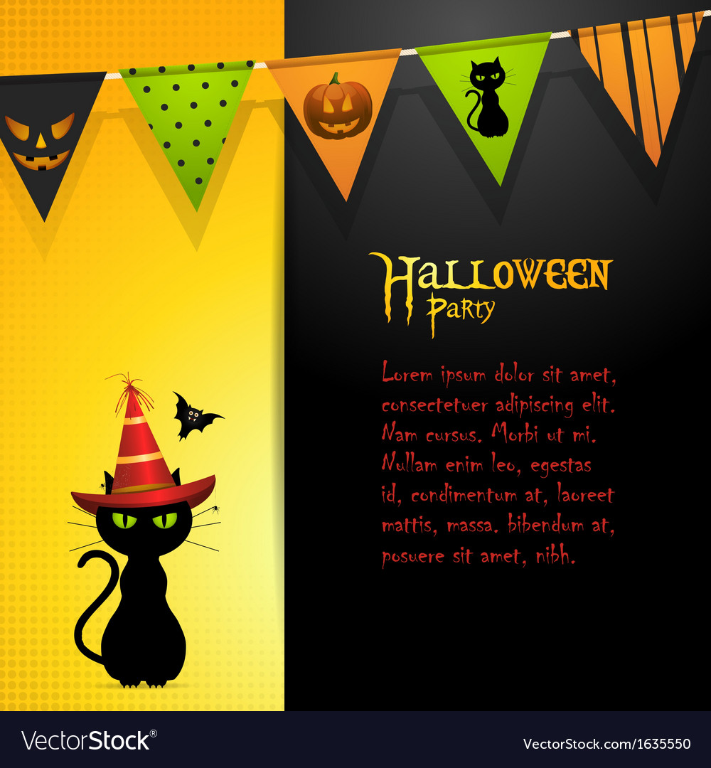 Halloween black cat panel background vector | Price: 1 Credit (USD $1)