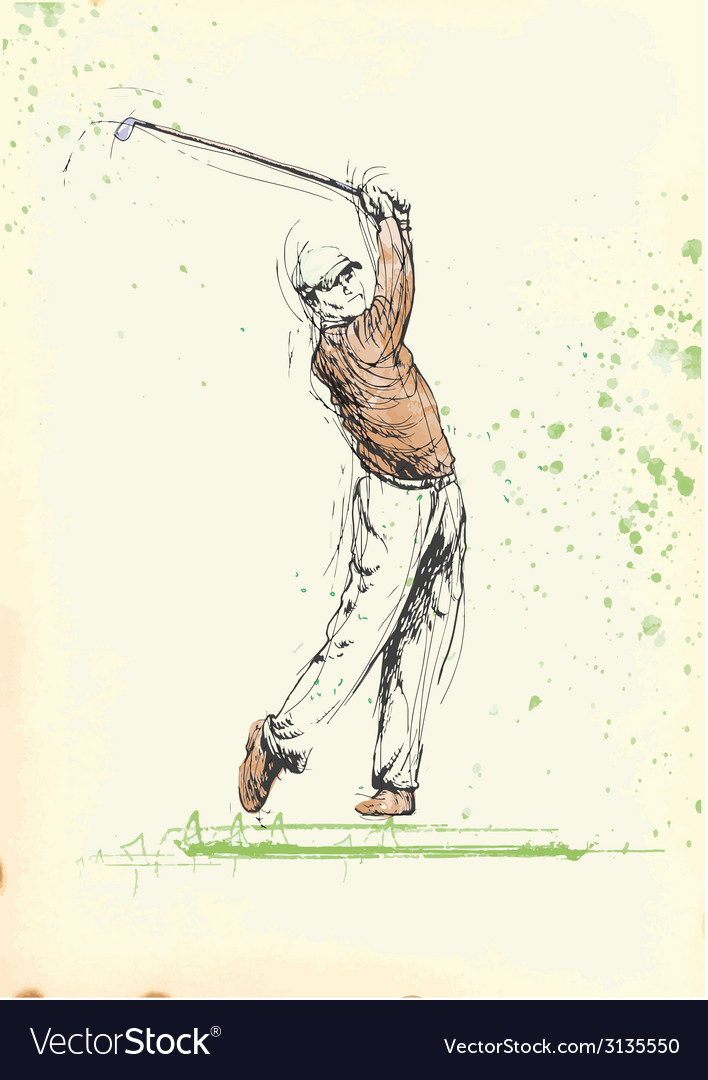 Hand drawing - golf player vector | Price: 1 Credit (USD $1)
