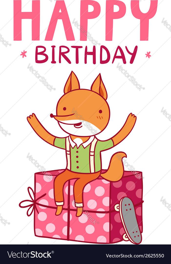 Happy birthday fox vector | Price: 1 Credit (USD $1)
