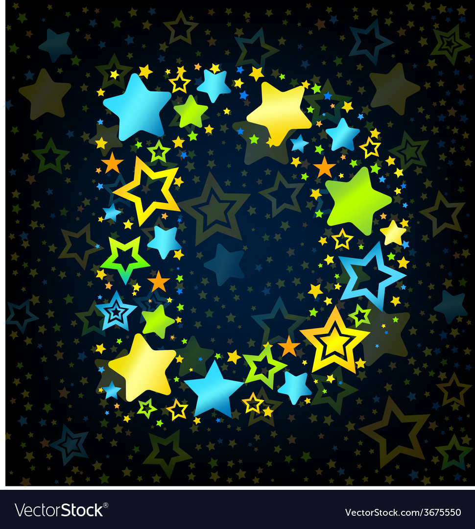 Letter d cartoon star colored vector | Price: 1 Credit (USD $1)
