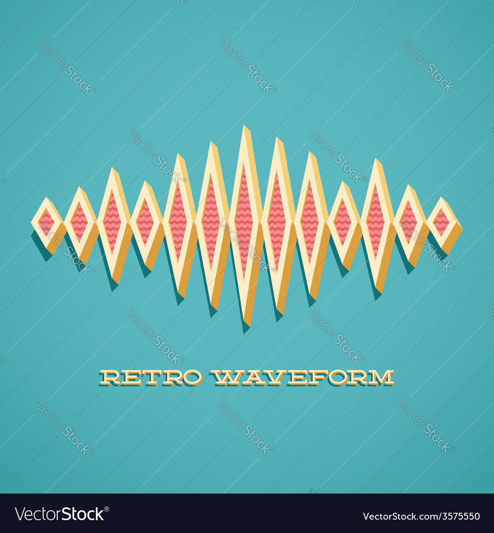 Retro card with sound waveform vector | Price: 1 Credit (USD $1)