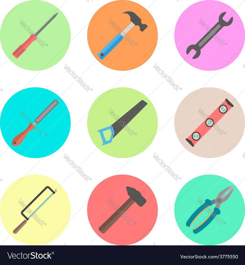 Set of tools in the colored circles vector | Price: 1 Credit (USD $1)