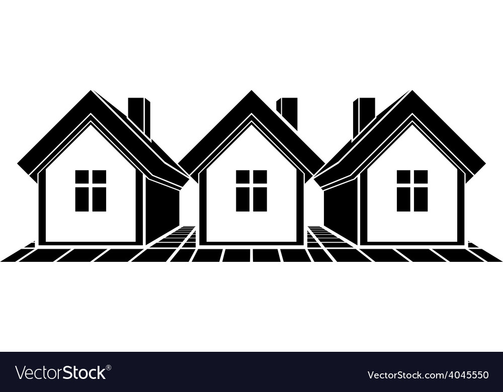 Simple monochrome cottages black and white vector   Price: 1 Credit (USD $1)