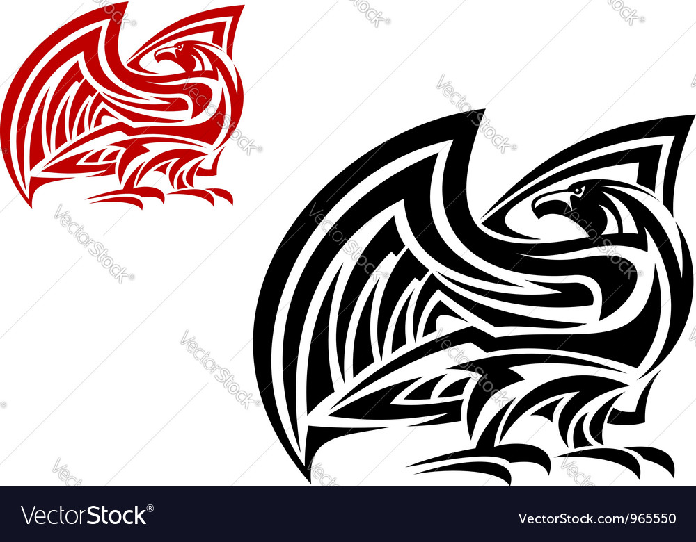 Tribal eagle mascot in two colors vector | Price: 1 Credit (USD $1)