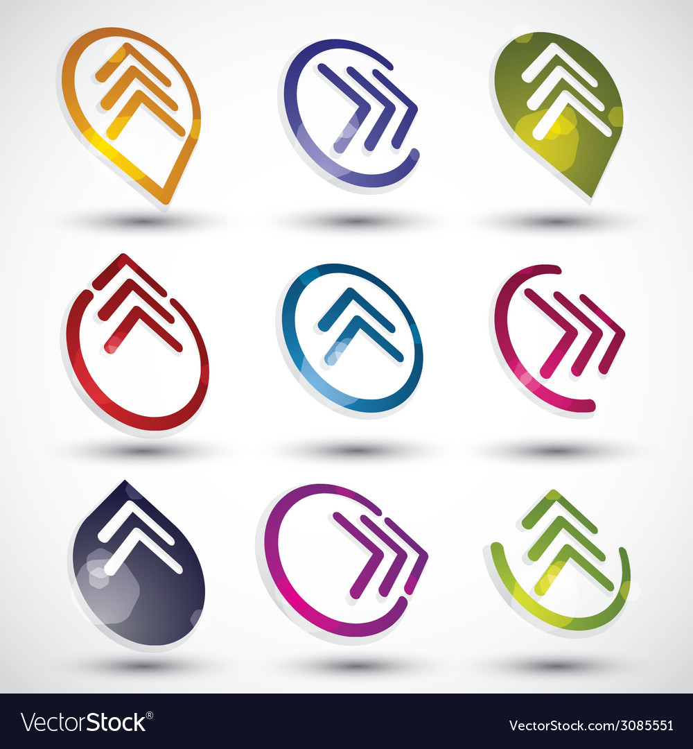 Abstract arrows icons set vector | Price: 1 Credit (USD $1)