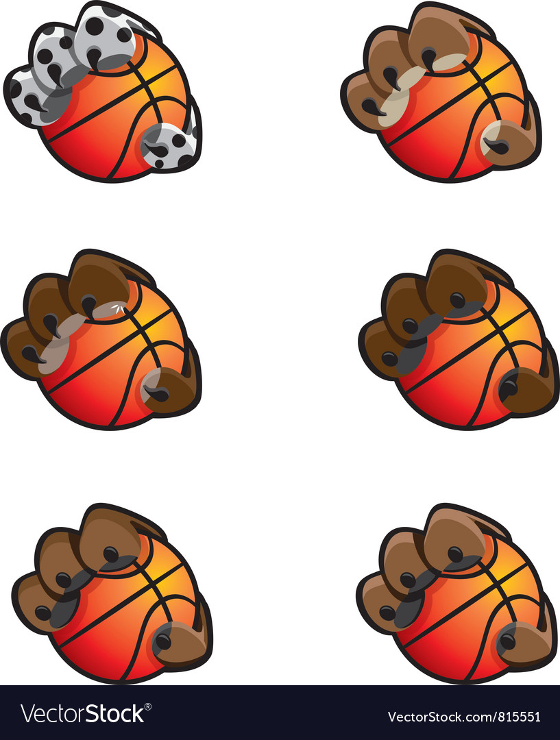 Basketball animal claw icon set vector | Price: 1 Credit (USD $1)
