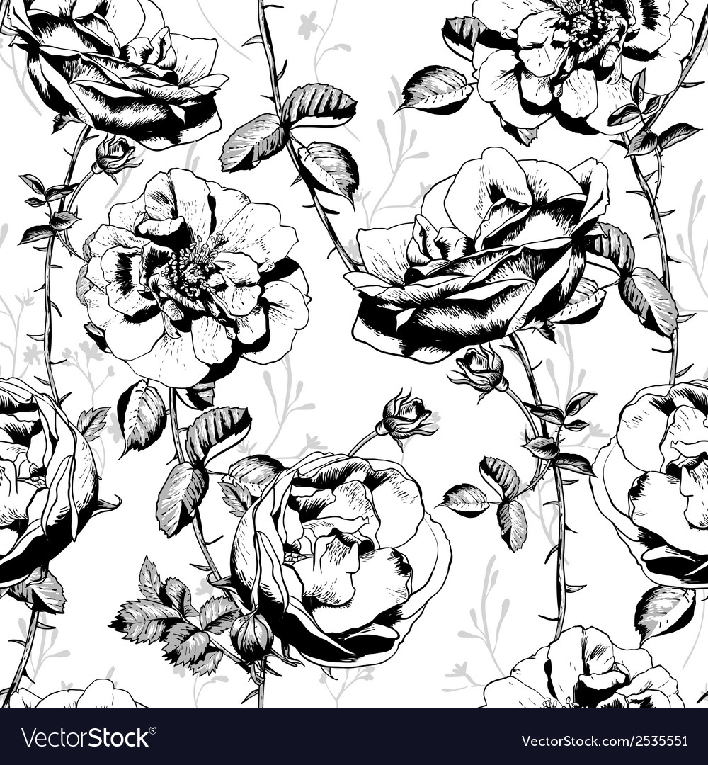Black and white floral seamless background vector | Price: 1 Credit (USD $1)