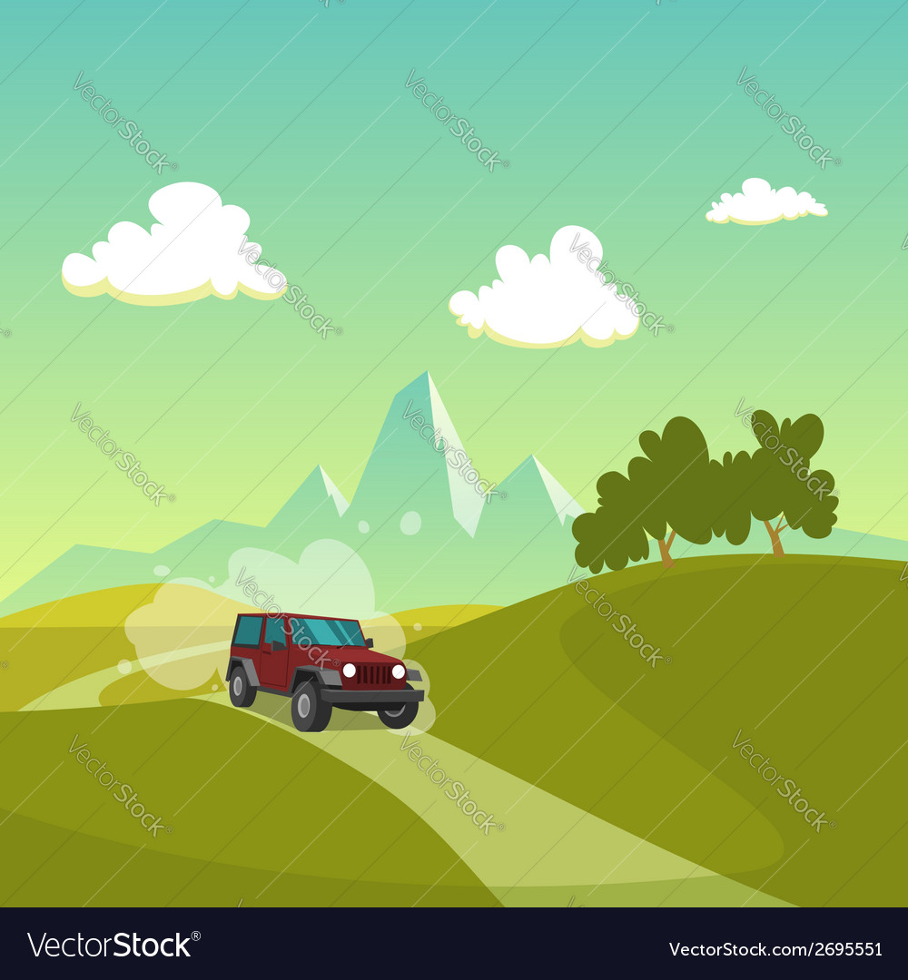 Cartoon landscape vector | Price: 1 Credit (USD $1)