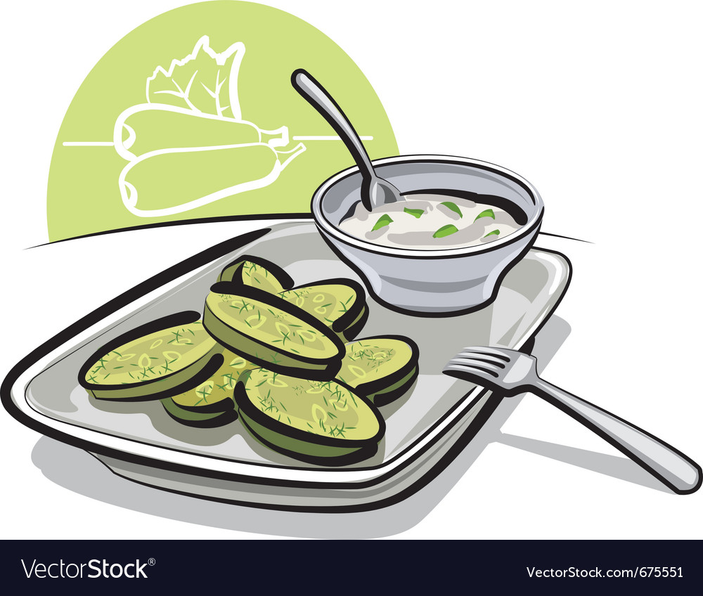Fried zucchini with sauce vector | Price: 3 Credit (USD $3)