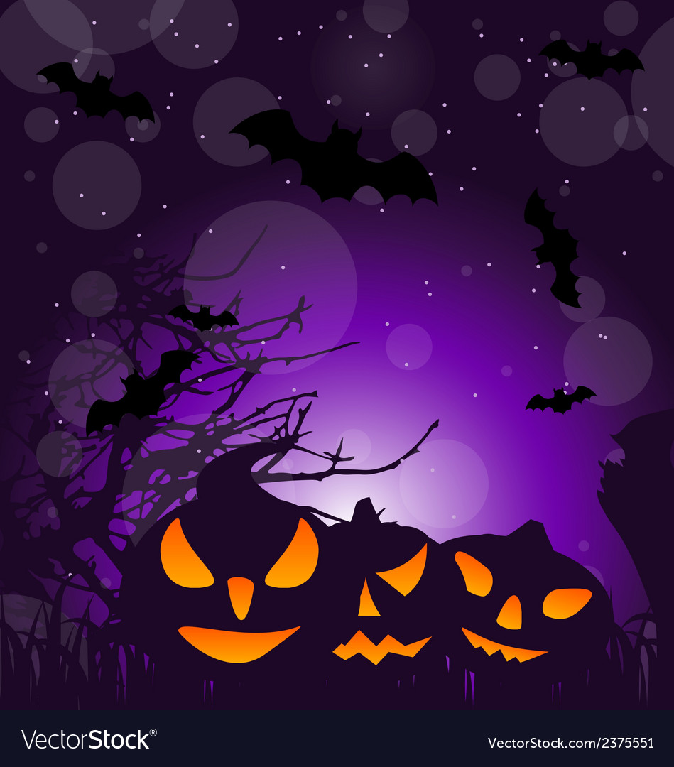 Halloween scary pumpkins outdoor background vector | Price: 1 Credit (USD $1)