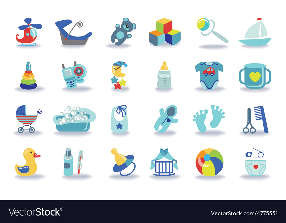 Newborn baby boy icons setbaby shower kit vector | Price: 1 Credit (USD $1)