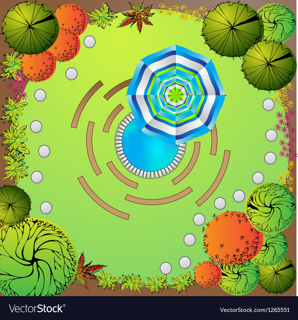 Plan of garden with symbols of tree vector   Price: 1 Credit (USD $1)