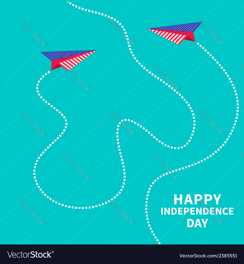 Two paper planes dash line independence day vector | Price: 1 Credit (USD $1)