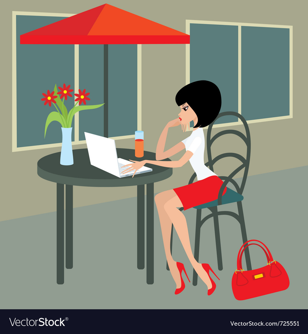 Young woman with the laptop in cafe vector | Price: 1 Credit (USD $1)