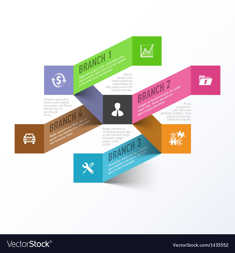 Abstract business branches infographics template vector | Price: 1 Credit (USD $1)