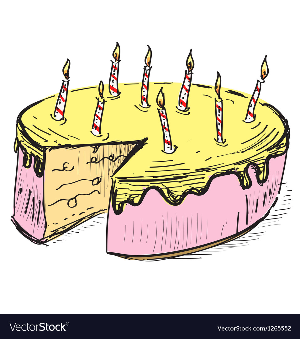 Birthday cake with candles vector   Price: 1 Credit (USD $1)