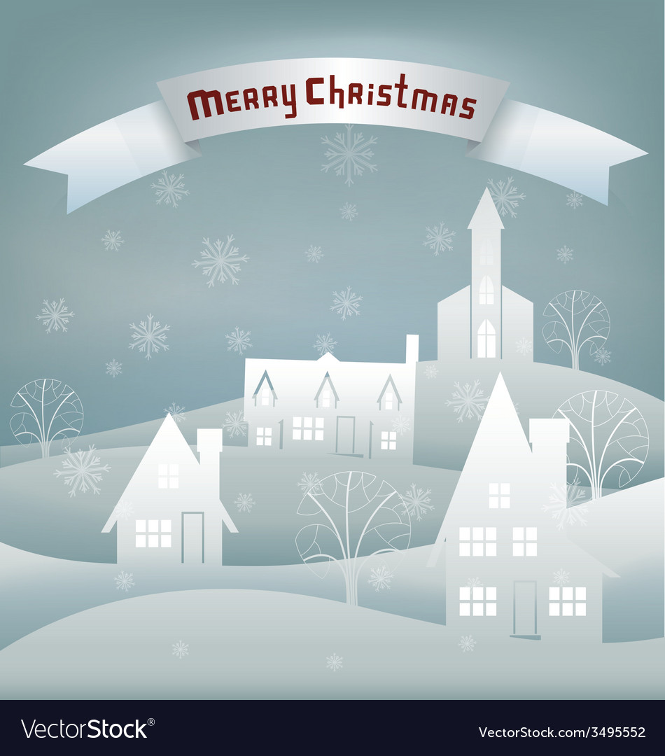Christmas design night village banner lettering vector | Price: 1 Credit (USD $1)