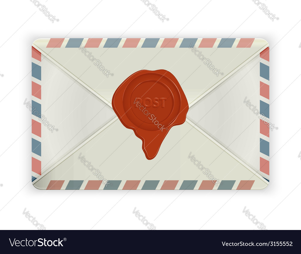 Envelope with wax seal isolated on white vector   Price: 1 Credit (USD $1)