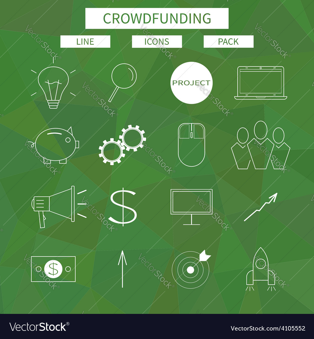 Flat line icons set of crowd funding service vector | Price: 1 Credit (USD $1)