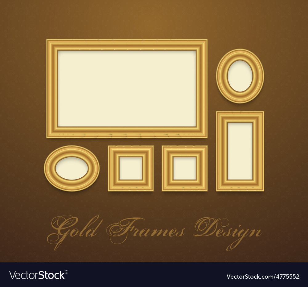 Gold frame for text picture photo or your design vector   Price: 1 Credit (USD $1)