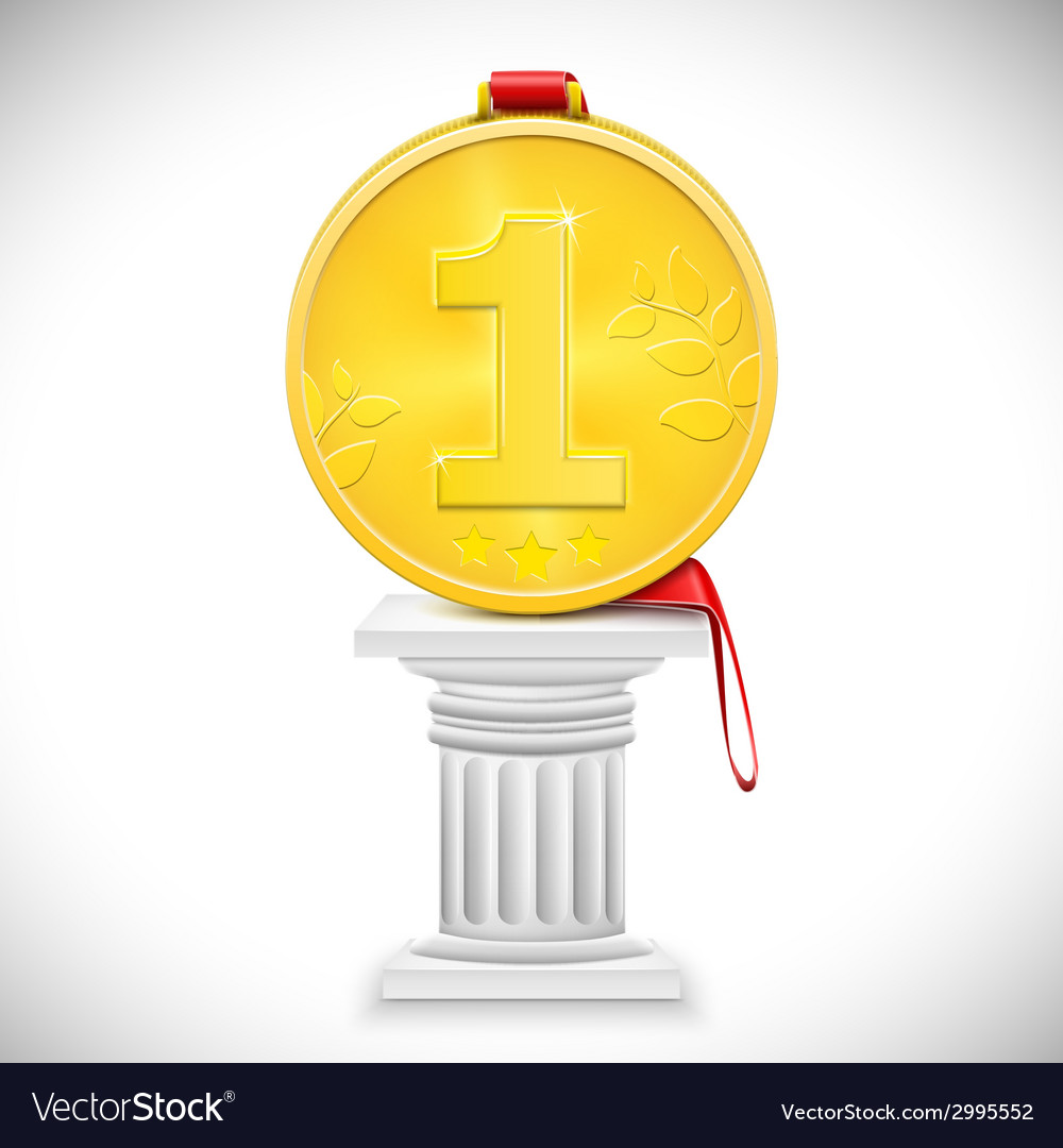 Golden medal with ribbon on column vector | Price: 1 Credit (USD $1)